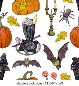 Halloween treats and symbols seamless pattern. Black ice cream cone, unicorn milk shake, pumpkins, candles, autumn leaves, bats, spider. Festive decoration, textile print, gothic, cartoon.