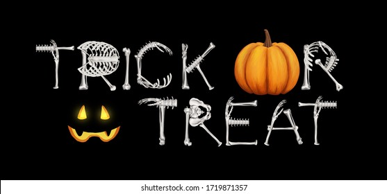 Halloween Trick or treat word- art. Bright elements for design isolated