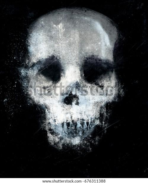 Halloween Wallpaper Spooky Skull Design Tshirt Stock