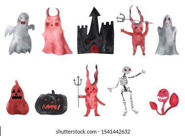 Halloween watercolor characters.  Skeleton, ghosts, devils, castle pumpkins, predatory flower. Big set. Isolater elements on white background for your design.