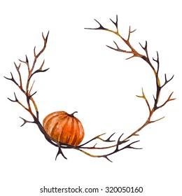 Halloween Watercolor Frame with Pumpkin