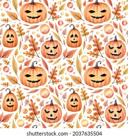 Halloween watercolor saemless pattern. Hand drawn endless texture. Orange pumpkins, autumn leaves and another elements. Nice festive wallpaper.