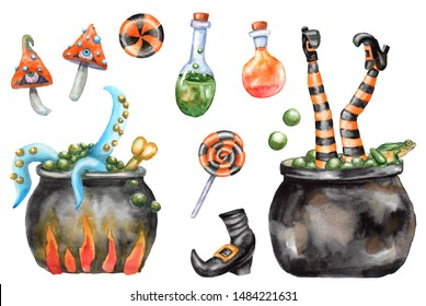 Halloween watercolor set of witch cauldron, sweets, candies, witch  legs, frog, potion bottles, mushrooms, boot