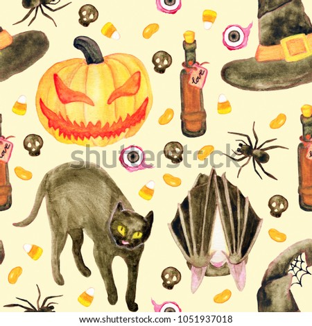 Halloween watercolor vintage looking seamless pattern. Black cat, pumpkin head, bat, spider, potion and candies