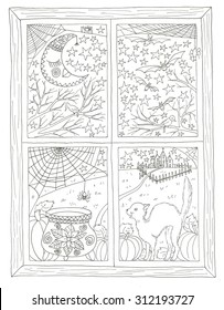 Halloween window view coloring page