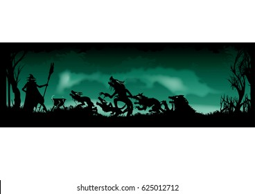 Halloween Witching banner. illustration witches ritual. Witch is summoning beasts creatures in the heart of forest. Black silhouettes on the green background with mist and smoke.
