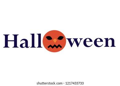 Halloween word with pumpkin icon.