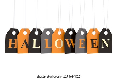 Hallowen text on autumn colorful hanging labels isolated on white background 3D render