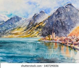 Hallstatt mountain village at Hallstatt lake.Austria, Europe.Picture created with watercolors.