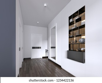 Hallway corridor in bright white colors with doors and built-in true niche with shelves and decor. 3d rendering.