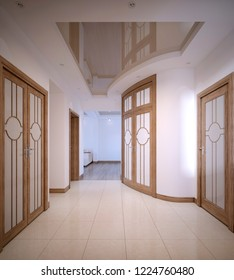 Hallway Corridor with doors and white walls in a classic style. 3D rendering.