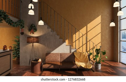 Hallway Detail with Christmas Decorations 3D Rendering
