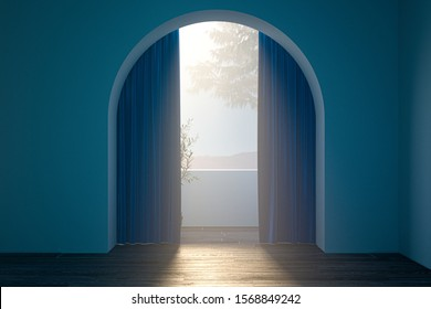 Hallway with geometric arch, blue walls and open curtains. 3d rendering.Good future ahead. Mysterious future,