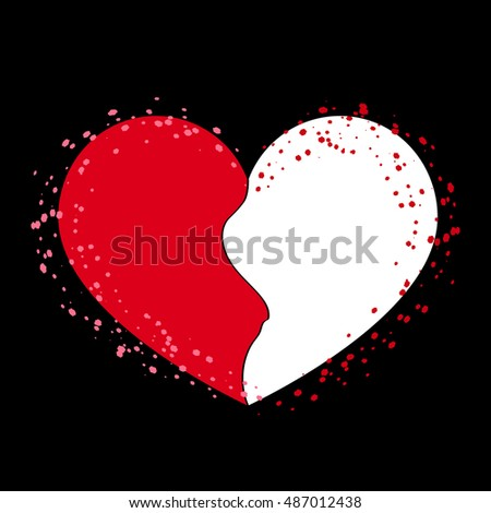 Halves Heart Icon Two Half Puzzle Stock Illustration Royalty Free