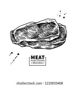 Ham slice drawing. Hand drawn hamon or pork meat illustration. Italian prosciutto or jamon vintage sketch. Engraved food object. Butcher shop product. Great for label, restaurant menu.