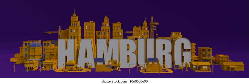 Hamburg lettering name, 3d rendering city with buildings