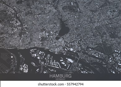Hamburg map, satellite view, city, Germany. 3d rendering