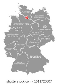 Hamburg red highlighted in map of Germany