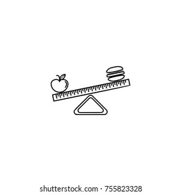 Hamburger and apple on scales. Balance between fast and healthy food. Diet, nutrition, fitness and health concept line icon on white background