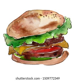 Hamburger fast food isolated. Watercolor background illustration set. Watercolour drawing fashion aquarelle isolated. Isolated snack illustration element.