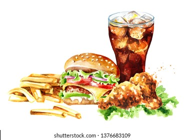 Hamburger, french fry stick potato, crispy fried chiken and glass of cola. Fast food concept. Watercolor hand drawn illustration, isolated on white background