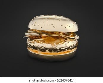 Hamburger gold is on black background. 3d render and illustration.