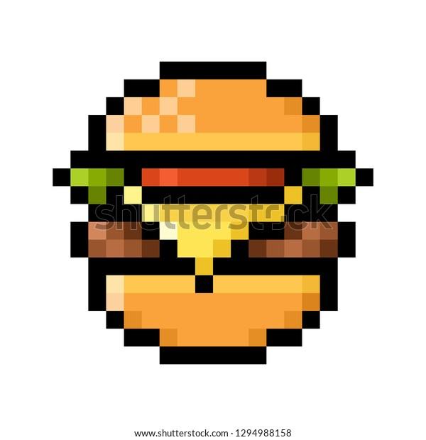 Illustration De Stock De Hamburger Pixel Art Cheeseburger