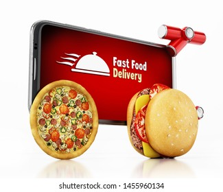 Hamburger and pizza mounted smartphone with fast food delivery text. 3D illustration.