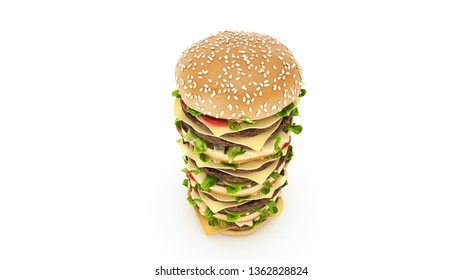 hamburger tower. 3d rendering