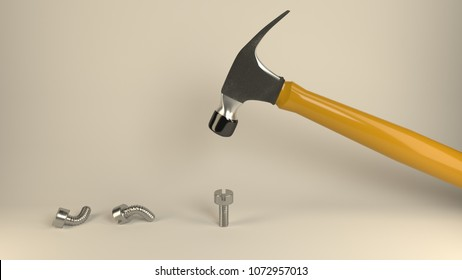 Hammer banging metal screws, symbolizes hard way or smart way, accurate solutions lead to success, efficiency, smartness, cleverness let you avoid  complications and hard work, 3d illustration