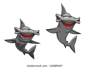 Hammer fish shark in cartoon style for mascot design or idea of logo. Vector version also available in gallery