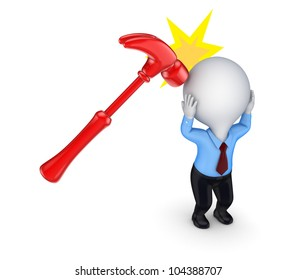 A hammer that hits 3d small person.Isolated on white background.3d rendered.