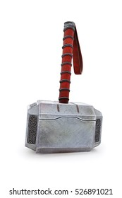 Hammer of Thor standing on the ground Mjolnir 3d Illustration 3d render isolated