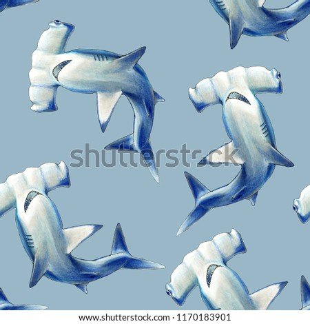 3365663466474 Hammerhead shark seamless pattern on light blue background. Illustration  hand drawn with markers and color
