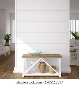 Hampton style living room interior, wall mockup, 3d render