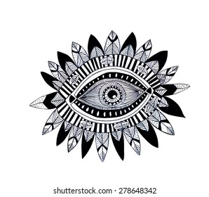 Hamsa eye with feathers hand drawn illustration