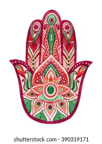 Hamsa Hand in watercolor. Protective and Good luck amulet in Indian, Arabic  Jewish cultures. Hamesh hand for tattoo, boho, yoga design, textiles elements etc. Hand draw illustration