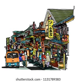 Hanazakicho zone, Naritasan Omotesando road has a shop.famous restaurant and destination is to pay homage to Naritasan Shinshoji temple : Chiba Japan, sketchbook Illustration design.