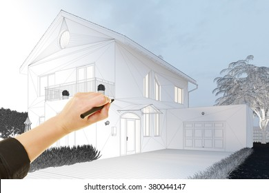 Hand of architect drawing 3D house with pen (3D Rendering)