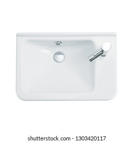 hand basin overhead view and bathroom sink top view isolated on white background, perfect for use for 2d colour floor plans and interior design projects.