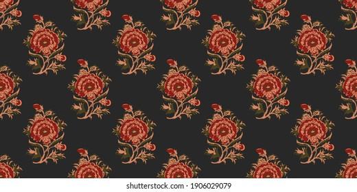 Hand block print flower background print design