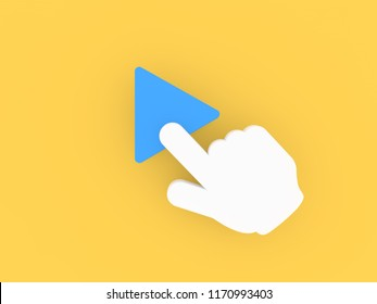The hand clicks on the multimedia playback icon. 3d render illustration.