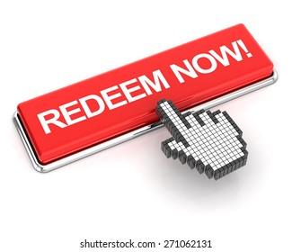 Hand cursor clicking a redeem now button, 3d render