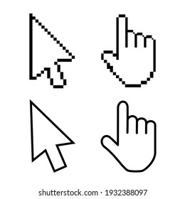 Hand cursor icon with an index finger and arrow. Pixel design graphics for modern computer technology, web sites, blogs, computer applications, programs. illustration in flat style