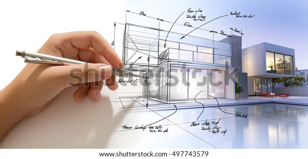Hand drafting a design villa and the building becoming real