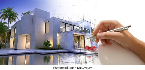 Hand drafting a design villa with pool and the house becoming real