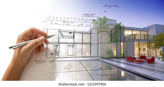 Hand entwirft eine moderne weiße Villa mit Pool