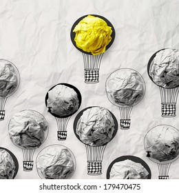 hand draw air balloons with crumpled paper ball as leadership concept
