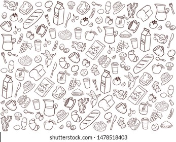 Hand draw of breakfast set in dark brown color on white background.