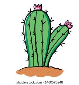 Hand draw cactus cartoon illustration